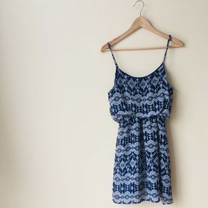 Kismet Navy Blue Tribal Print Dress